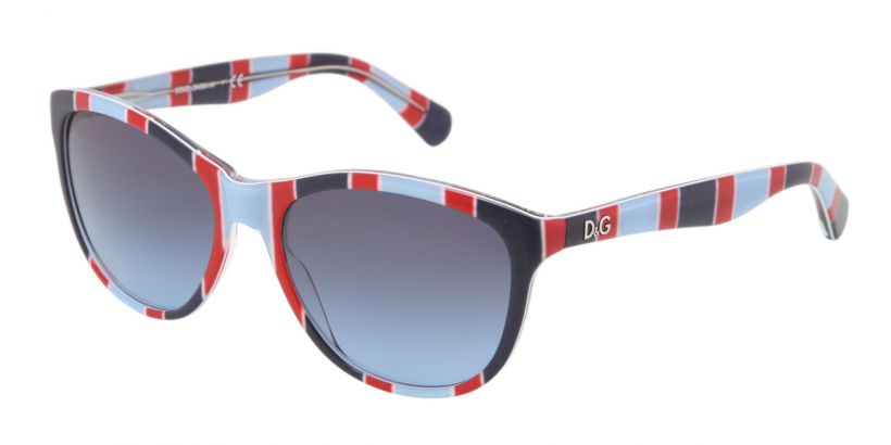 D&G Playful Chique Stripes Azure Red Blue - Blue Gradient
